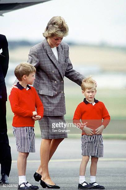 Princess Diana With Her Sons Prince William And Prince Harry At Aberdeen Airport
