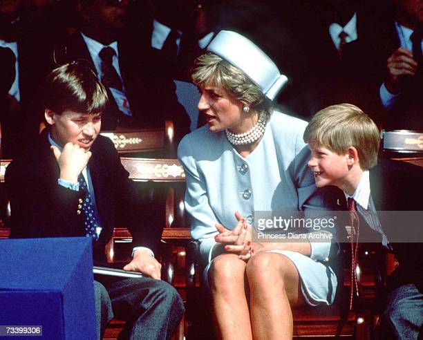 Princess Diana with her sons Prince William and Prince Harry at the VE Day commemorations in Hyde Park London May 1995