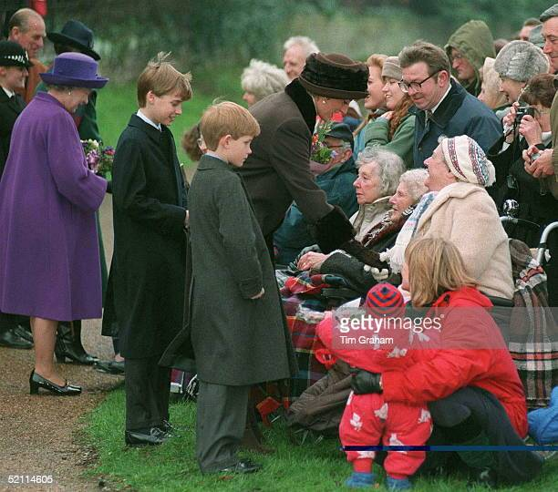 Princess Diana With Her Sons Prince William And Prince Harry Meeting The Crowds After Christmas Service At Sandringham Church