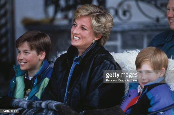 Princess Diana with her sons Prince William and Prince Harry on a skiing holiday in Lech, Austria, 30th March 1993.