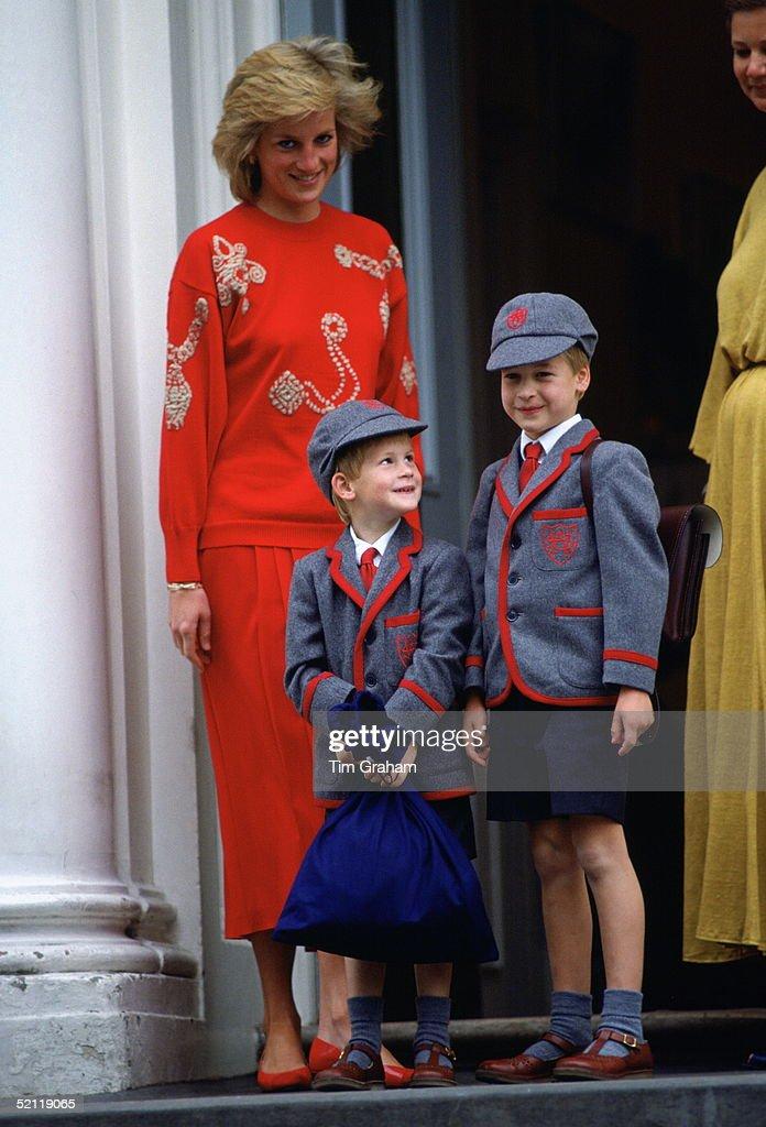 Diana William Harry At School : News Photo