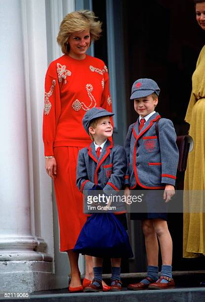 Princess Diana With Her Sons Prince William And Prince Harry Standing On The Steps Of Wetherby School On The First Day For Prince Harry.