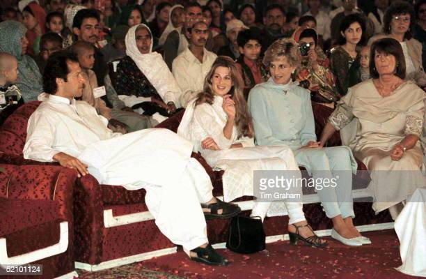 Princess Diana With Imran And Jemima Khan At Hospital In Lahore Pakistan Annabel Goldsmith At Right