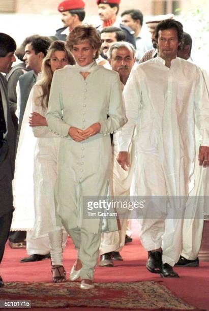 Princess Diana With Imran And Jemima Khan At Shaukat Khanum Hospital In Lahore, Pakistan.