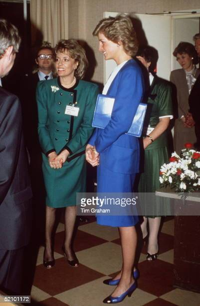 Princess Diana With Journalist And Television Presenter Esther Rantzen Visiting The Childline Offices.