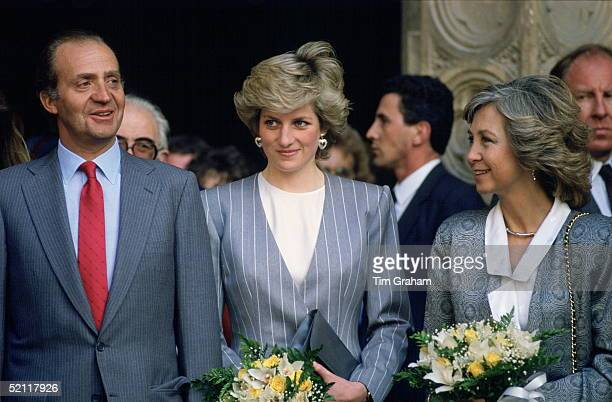 Princess Diana With King Juan Carlos And Queen Sofia During An Official Visit To Spain.