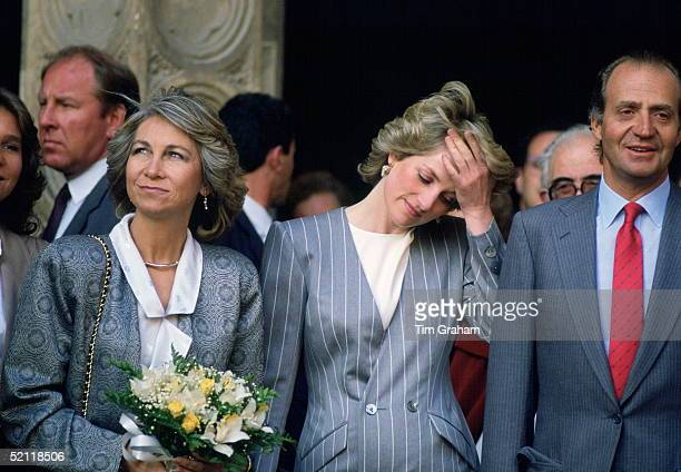 Princess Diana With King Juan Carlos And Queen Sofia Of Spain During A Royal Tour Of Spain