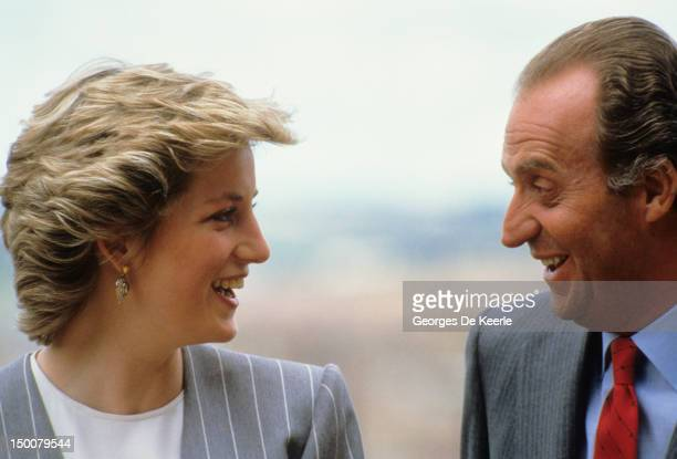 Princess Diana with King Juan Carlos during an official visit to Spain