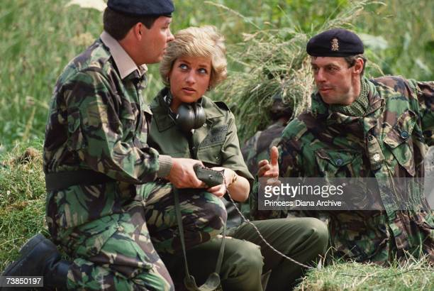 Princess Diana with members of the the Royal Hampshire Regiment at Tidworth Hampshire 23rd June 1988