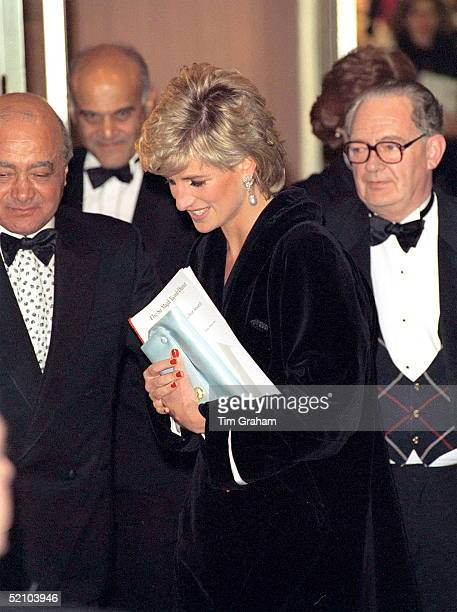 Princess Diana With Mohammed Al Fayed At Harrods To Attend A Dinner In Aid Of Harefield Hospital's Heart Science Centre's Research Programme Heart...