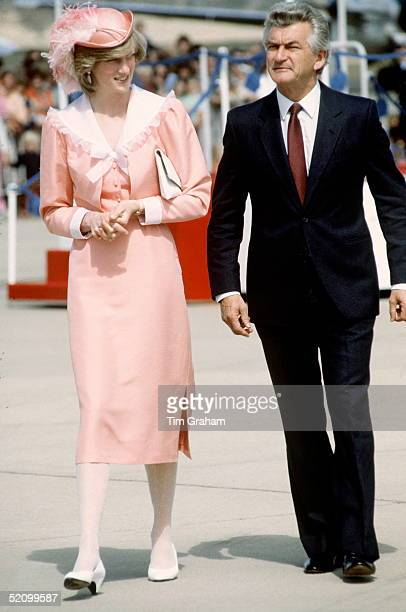 Princess Diana With Prime Minister Robert Hawke In Canberra Australia She Is Wearing A Peach Dress By Fashion Designer Bellville Sassoon