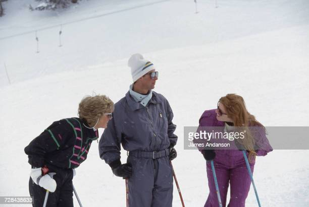 Princess Diana with Prince Charles and the Duchess of York during a skiing holiday in Klosters Switzerland 9th March 1988