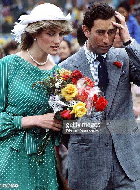 Princess Diana with Prince Charles at Auckland Stadium New Zealand for an official welcoming ceremony 18th April 1983 The princess is wearing a dress...