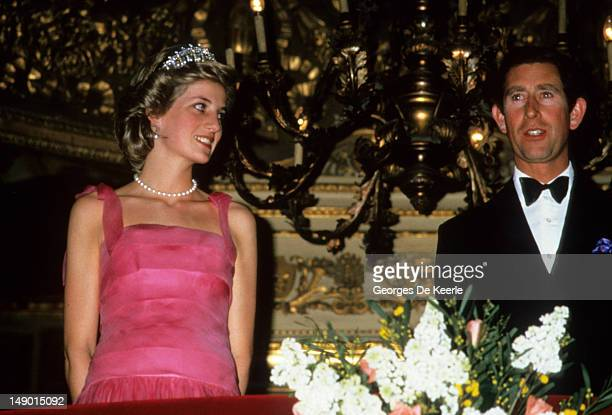 Princess Diana with Prince Charles during a night out at the opera at La Scala, Milan, Italy on April, 1985.