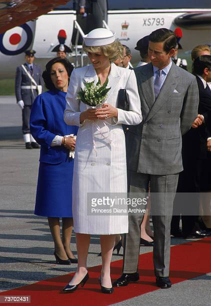 Princess Diana with Prince Charles in La Spezia Italy April 1985 The Princes is wearing a Catherine Walker dress and a hat by John Boyd