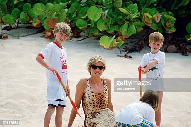Princess Diana With Prince Harry And A Friend On Holiday In Necker Island
