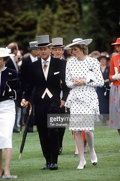 Princess Diana With Prince Philip At The Derby, Epsom, Surrey.