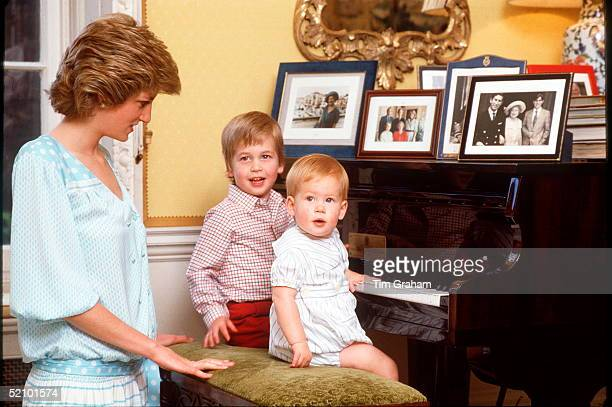 Princess Diana With Prince William And Prince Henry [harry] On The Piano At Home In Kensington Palace. ++ Dress Designed By Kanga
