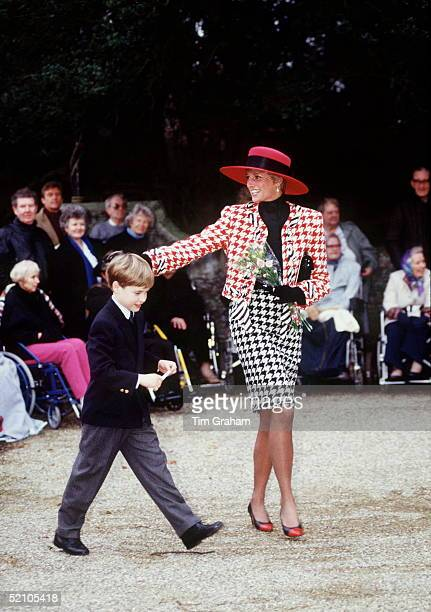 Princess Diana With Prince William At Sandringham After The Christening Of Her Niece