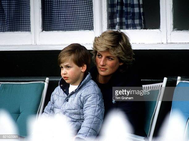 Princess Diana With Prince William Sitting On Her Lap At Polo.