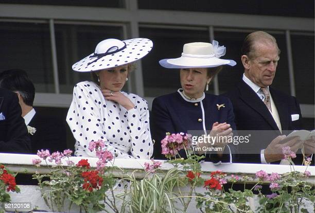 Princess Diana With Princess Anne And Prince Philip At The Derby