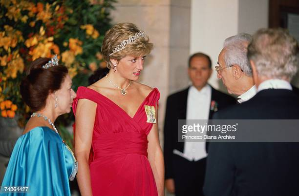 Princess Diana with Princess Margaret and President Francesco Cossiga during a banquet held at the VA Museum in honour of the Italian state October...