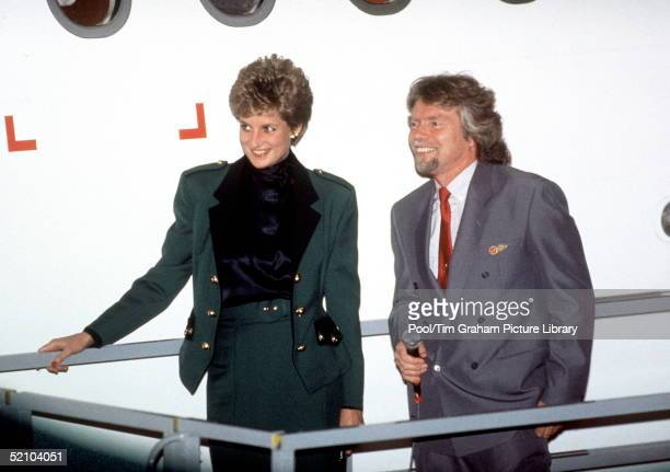 Princess Diana With Richard Branson At The Naming Ceremony Of The Virgin Atlantic A340 Airbus Aeroplane Lady In Red