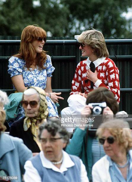 Princess Diana with Sarah Ferguson at the Guard's Polo Club Windsor June 1983 The Princess is wearing a jumper with a sheep motif from the London...