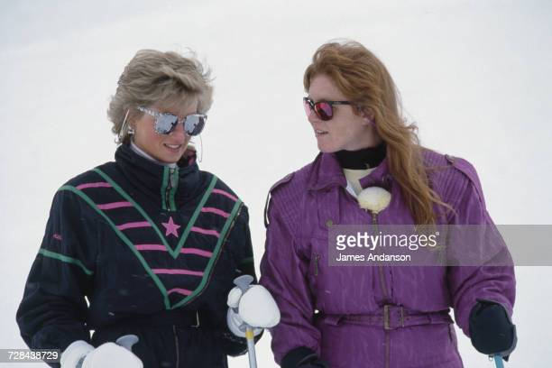 Princess Diana with the Duchess of York during a skiing holiday in Klosters, Switzerland, 9th March 1988.