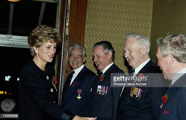 Princess Diana with veterans at a remembrance concert at the Royal Albert Hall London 13th November 1993