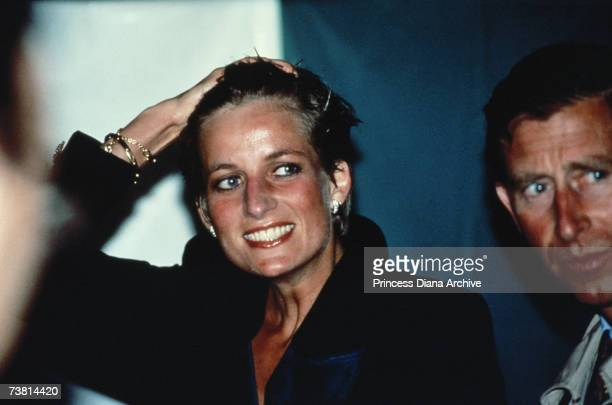 Princess Diana with wet hair at a Pavarotti concert in Hyde Park London 30th July 1991