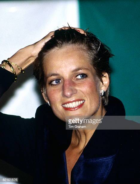 Princess Diana With Wet Hair Having Been Soaked By Heavy Rain At An Outdoor Pavarotti Concert In Hyde Park