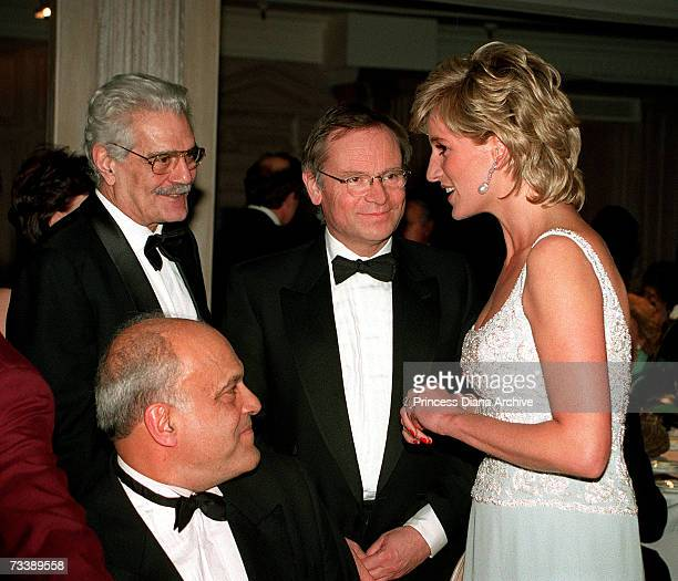 Princess Diana with writer Jeffrey Archer actor Omar Sharif and doctor Magdi Yacoub attending a charity dinner for the Harefield Heart Unit at...