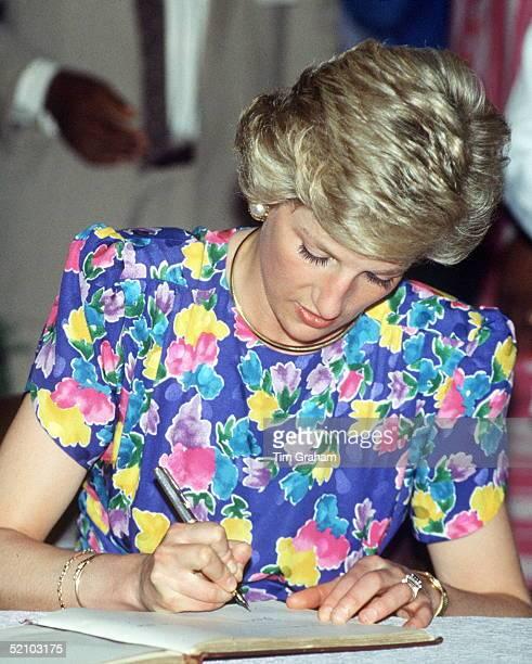 Princess Diana Writing During A Visit To Lagos, Nigeria