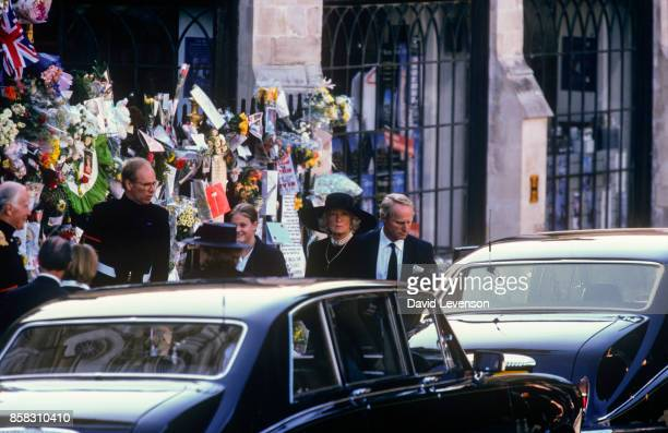 Princess Diana's mother Frances Shand Kydd leaves the funeral of Diana Princess of Wales on September 6 at Westminster Abbey London England