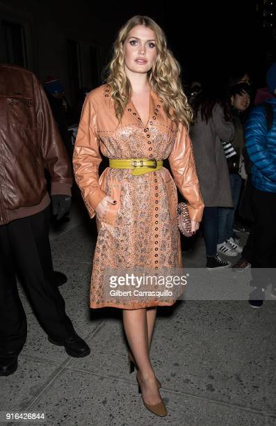 Princess Diana's niece Lady Kitty Spencer is seen arriving to the Bottega Veneta fashion show during New York Fashion Week at New York Stock Exchange...