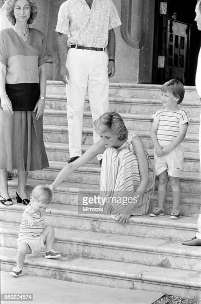 Princess Diana,The Princess of Wales and her husband Prince Charles, The Prince of Wales on holiday in Palma, Majorca. They are the guests of King...
