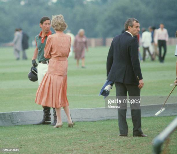 Princess DianaThe Princess of Wales and Prince Charles The Prince of Wales at Guards Polo at Windsor Berkshire Sanding to the behind right ofThe...