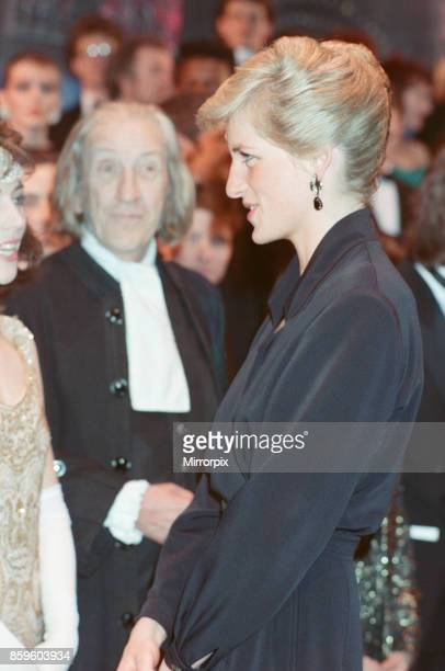 Princess Diana,The Princess of Wales attends The Laurence Olivier Awards at The Dominion Theatre in London, 29th January 1989.