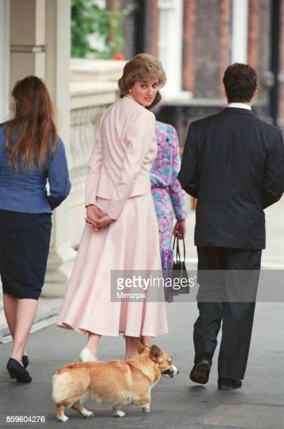 Princess DianaThe Princess of Wales attends The Queen Mother's 88th Birthday at Clarence House LondonThe Princess is pictured walking along with a...