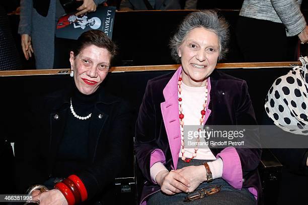 Princess Diane de Beauvau Craon and her sister Owner of 'Chateau de Haroue Princess Minnie de Beauvau Craon attends the Opera 'La traviata' 'Opera en...