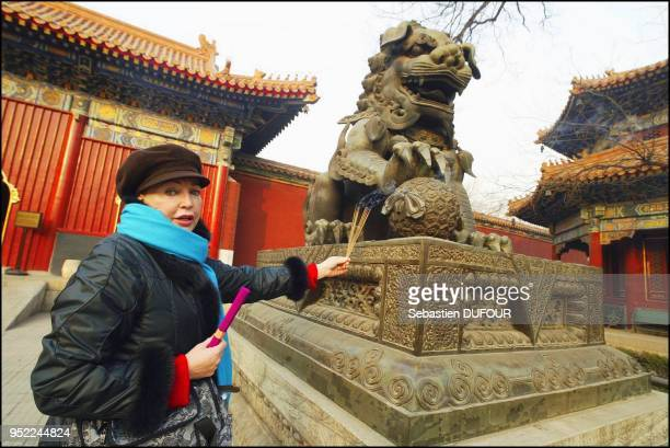 Princess Diane visiting the Tianningsi temple Male bronze lion lion is symbol of the Imperial power Approuval needed Special fee applies