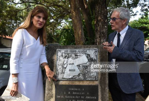 Princess Dina Mired of Jordan Presidentelect of the International Union Against Cancer along with the honorary consul of Jordan in Paraguay Jose...