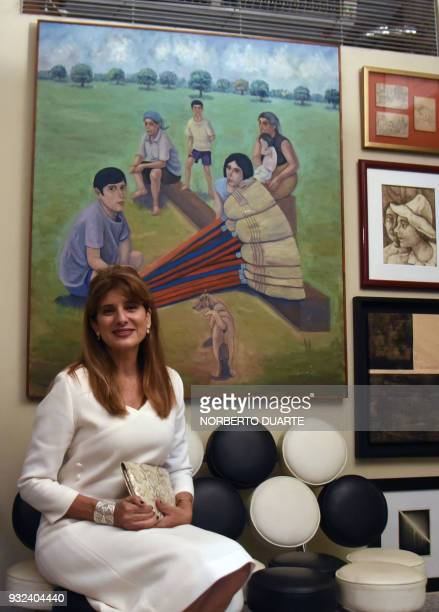 Princess Dina Mired of Jordan Presidentelect of the International Union Against Cancer poses for a picture at the residence of the honorary consul of...