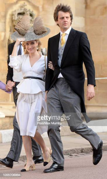 Princess Ekaterina of Hanover and Crown Prince Ernst August of Hanover Jr attend the wedding of Princess Eugenie of York and Jack Brooksbank at St...