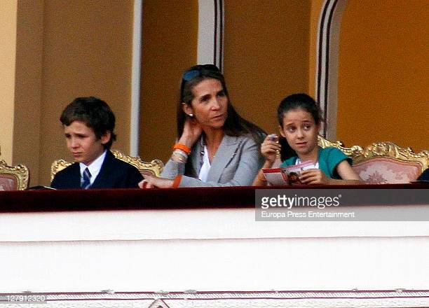 Princess Elena and her kids Felipe Juan Froilan and Victoria Federica attend Bullfighting Autumn Fairat Plaza de Toros de Las Ventas on October 1...