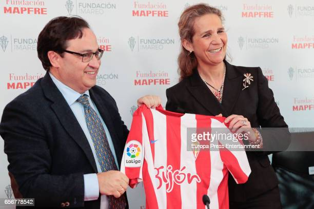 Princess Elena attends Real Sporting de Gijon Football Club on March 22 2017 in Gijon Spain