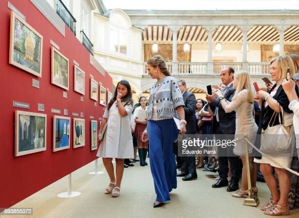 Princess Elena de Borbon attends during the deliver of awards for 'Patrimonio Nacional Painting's Contest for Children' at Royal Palace on June 8...