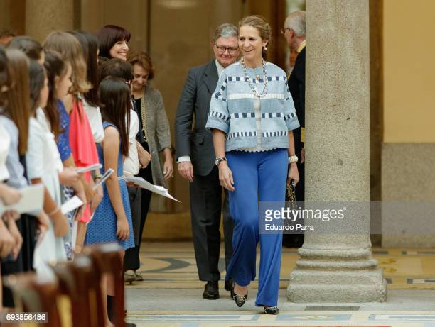 Princess Elena de Borbon attends the deliver of awards for 'Patrimonio Nacional Painting's Contest for Children' at Royal Palace on June 8 2017 in...