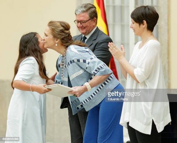 Princess Elena de Borbon presents an award for the 'Patrimonio Nacional Painting's Contest for Children' at Royal Palace on June 8 2017 in Madrid...